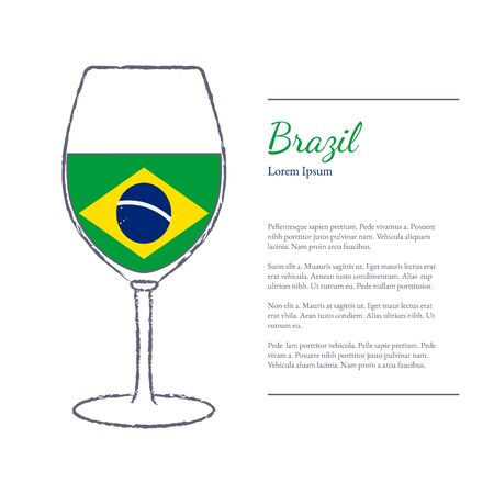 stroked: Rough brush stroked wine glass with National flag of Brazil, top wine making country. Graphic design elements isolated on white background.