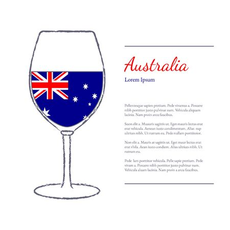 stroked: Rough brush stroked wine glass with National flag of Australia, top wine making country. Graphic design elements isolated on white background. Illustration
