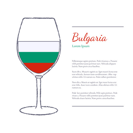 Rough brush stroked wine glass with National flag of Bulgaria, top wine making country. Graphic design elements isolated on white background.