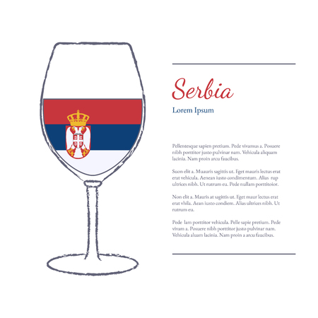 Rough brush stroked wine glass with National flag of Serbia, top wine making country. Graphic design elements isolated on white background.