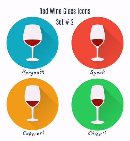 Set of icons. Variation of detailed hand drawn wine glasses. Illustration in modern and clean flat style. Illustration