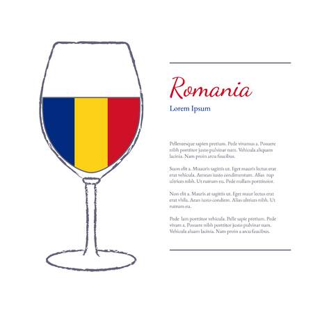 Rough brush stroked wine glass with National flag of Romania, top wine making country. Graphic design elements isolated on white background.