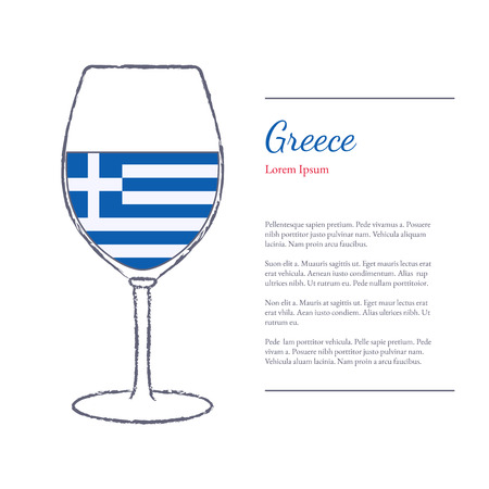 stroked: Rough brush stroked wine glass with National flag of Greece, top wine making country. Graphic design elements isolated on white background. Illustration