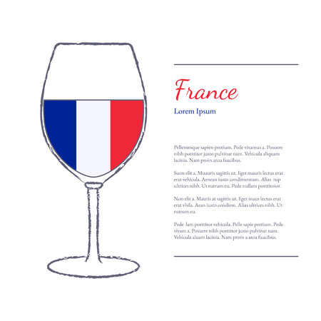 stroked: Rough brush stroked wine glass with National flag of France, top wine making country. Graphic design elements isolated on white background. Template with place for your text. Illustration