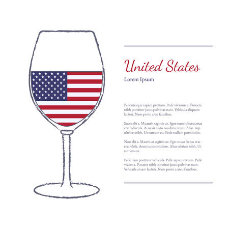 stroked: Rough brush stroked wine glass with National flag of USA, top wine making country. Graphic design elements isolated on white background.