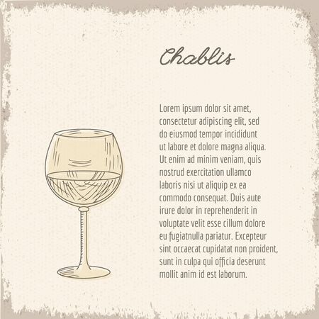 Template with cute hand drawn wine glass. Banco de Imagens - 61427982