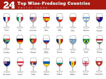 Collection of top wine producing countries pictograms. Wine glasses with national flags with countries names. Illustration