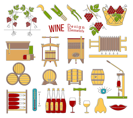 Mega collection of wine making and wine tasting process design elements in modern flat line style isolated on white background. Vettoriali