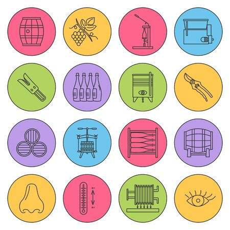 Set of winemaking and wine tasting icons in modern thin line style isolated on colored background.