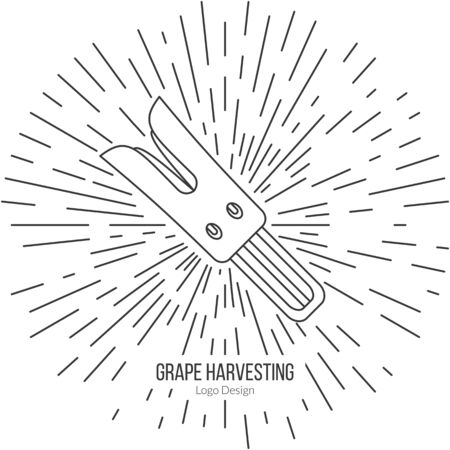 viticulture: Grape razor fork with star burst.