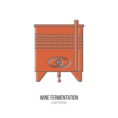 sommelier: Stainless steel wine tank. Illustration