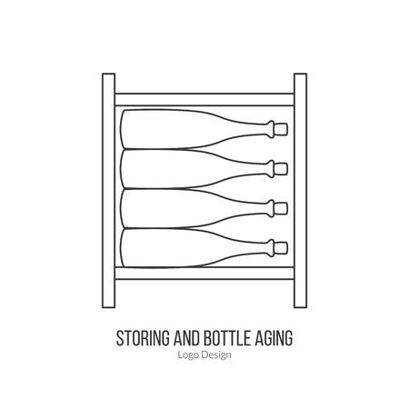 Wine storage, cellar with wine bottles.template. Illustration