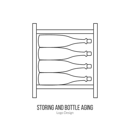 storage: Wine storage, cellar with wine bottles.template. Illustration