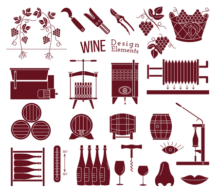 Mega collection of wine making and wine tasting process design elements in modern mono black simple style isolated on white background. Winery icons.