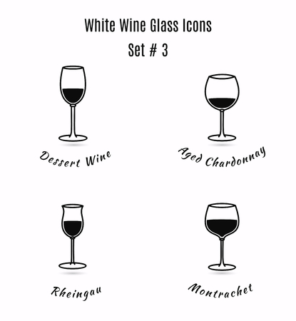 sommelier: Set of icons on white background. Variation of detailed hand drawn wine glasses. Illustration in modern and clean outline style.