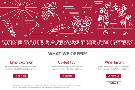 wine tasting: raster website banner landing page template with buttons. Design elements of grape cultivation, wine making, alcoholic beverage sales and wine tasting. Isolated winery symbols in flat, thin line style Illustration