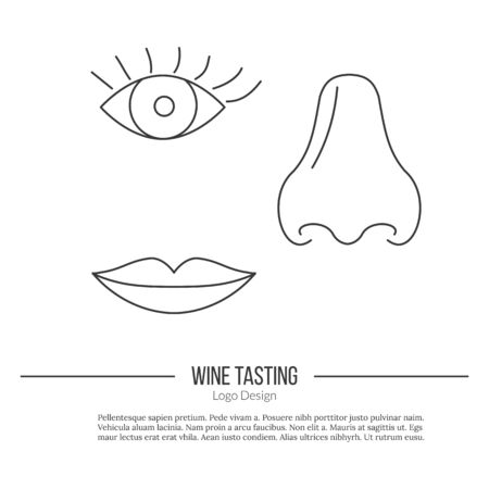 oenology: Human nose, eye and lips.
