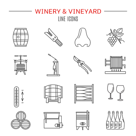 Set of winemaking and wine tasting icons in modern thin line style isolated on white background. Çizim