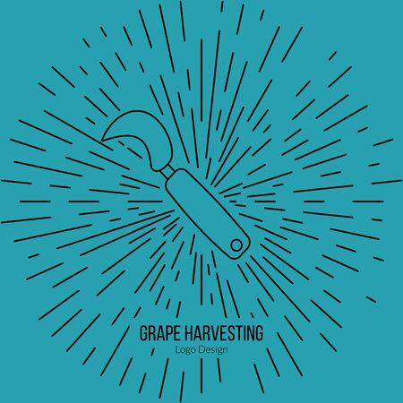 harvesting: Grape hook, harvesting knife with star burst. Illustration