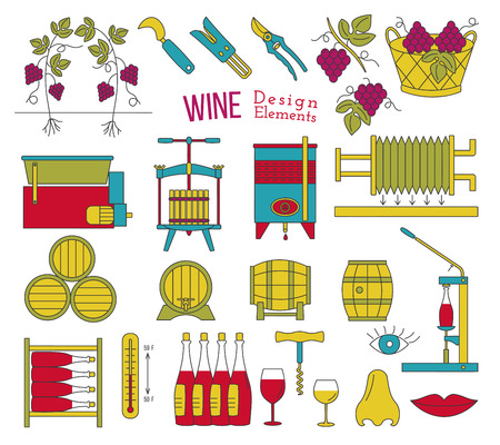 Mega collection of wine making and wine tasting process design elements in modern flat line style isolated on white background. Vectores
