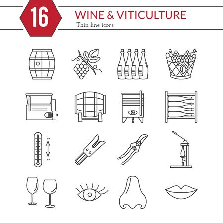 Set of winemaking and wine tasting icons in modern thin line style isolated on white background. High quality outline symbol collection.