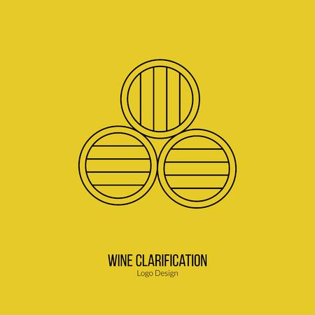 vinification: Oak wine barrels. Illustration