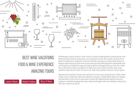 wine making: raster website banner landing page template with buttons. Design elements of grape cultivation, wine making, alcoholic beverage sales and wine tasting. Isolated winery symbols in flat, thin line style Illustration
