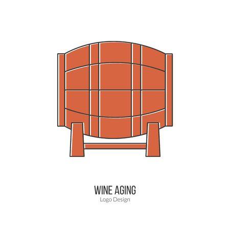 vinification: Oak wine barrel. Illustration