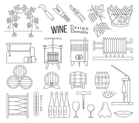 메가 컬렉션 와인 만들기 및 흰색 배경에 고립 된 현대 모노 얇은 라인 스타일에서 프로세스 디자인 요소를 시음하는 와인.