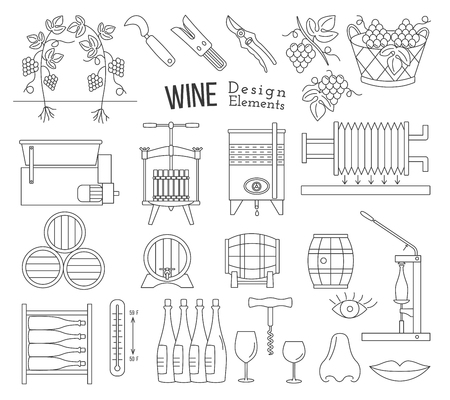 Mega collection of wine making and wine tasting process design elements in modern mono thin line style isolated on white background.