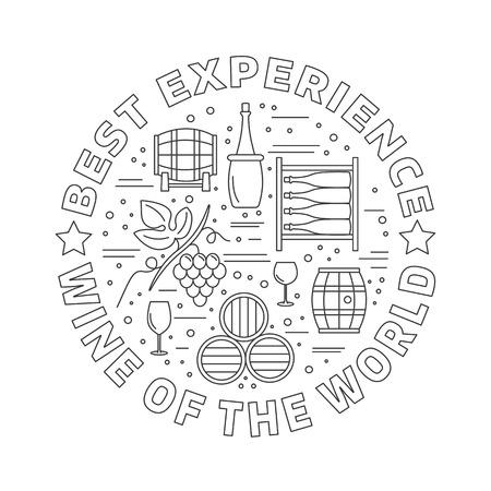 Winery icons arranged in circle composition isolated on white background. Vektoros illusztráció