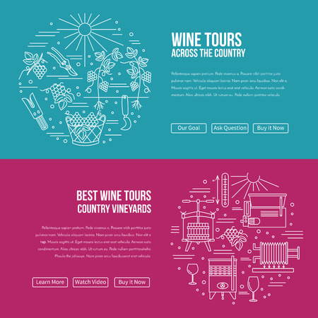 vinification: website banner landing page template with buttons.