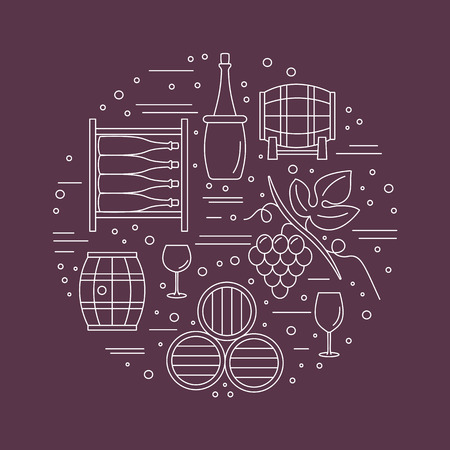 Winery icons arranged in circle composition isolated on red background. Ilustração Vetorial