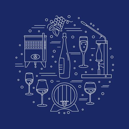 winery: Winery icons arranged in circle composition isolated on blue background.