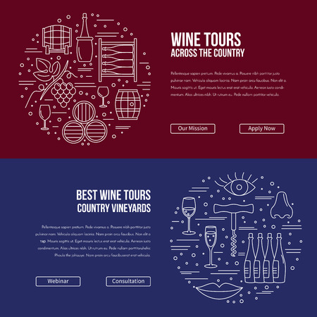 alcoholic beverage: website banner landing page template with buttons. Design elements of grape cultivation, wine making, alcoholic beverage sales and wine tasting. Isolated winery symbols in flat, thin line style