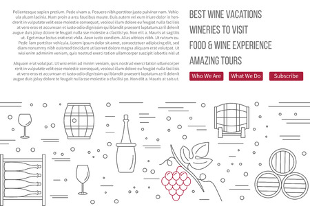vinification: raster website banner landing page template with buttons. Illustration