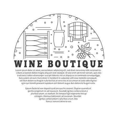 Winemaking, wine tasting, poster with winery symbols in circle and with place for your text. raster template with winery graphic design elements in mono line style isolated on a white background