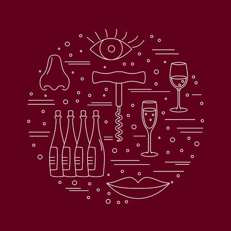 Winery icons arranged in circle composition isolated on red background.