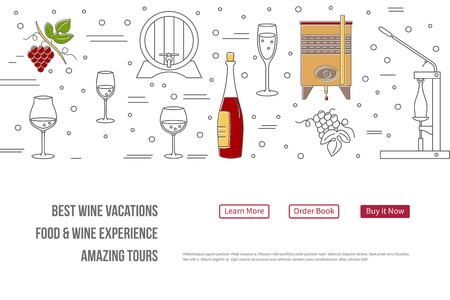 raster website banner landing page template met knoppen. Design elementen van de druiventeelt, wijn maken, de verkoop van alcohol en wijnproeverijen. Geïsoleerde wijnmakerij symbolen in flat, dunne lijn stijl