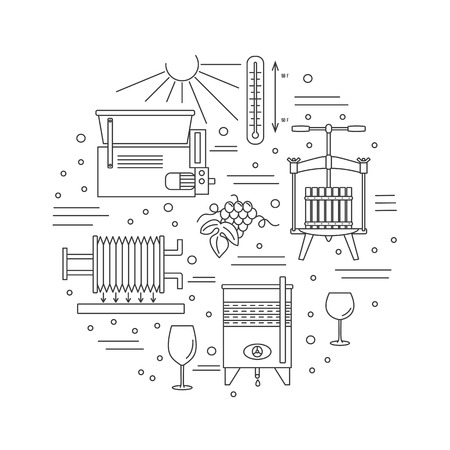 Round composition with winery symbols. Grapes, sun, thermometer, grape crusher destemmer, fruit press, wine tank, wine filter, wine glasses.