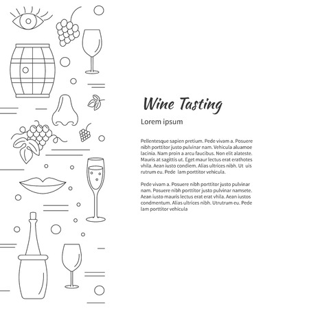 wine tasting: Winemaking, wine tasting , poster with winery symbols with place for your text. raster design template with winery graphic design elements in mono line style isolated on a white background.