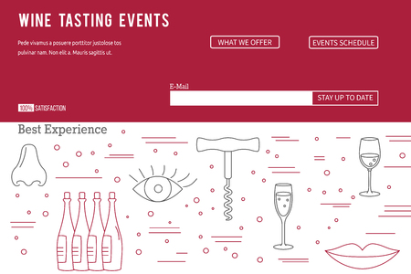 alcoholic beverage: raster website banner landing page template with buttons. Design elements of grape cultivation, wine making, alcoholic beverage sales and wine tasting. Isolated winery symbols in flat, thin line style Illustration