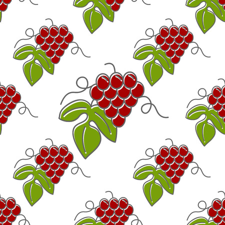 Seamless pattern with grapes isolated on a white background. Flat and line style design. Illustration