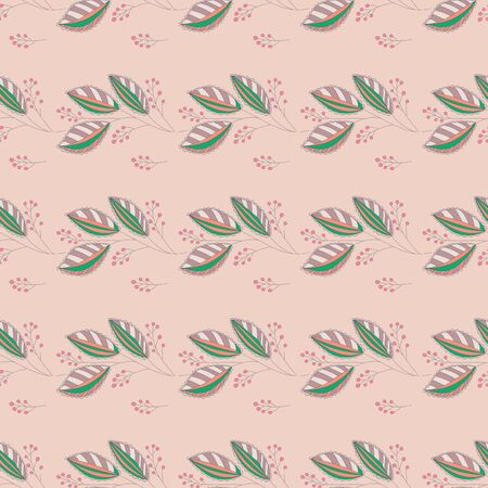 seamless pattern with leaves and berries. Hand drawn botanical background. Can be used for cards, invitations, web design, wallpaper, wrapping, background, surface textures and more