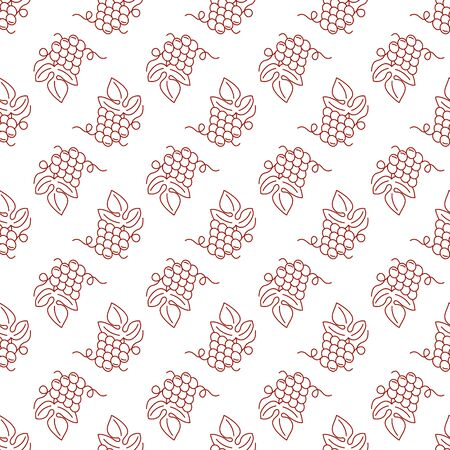 Seamless pattern with grapes isolated on a white background. Mono line style design. Flat and line style design.