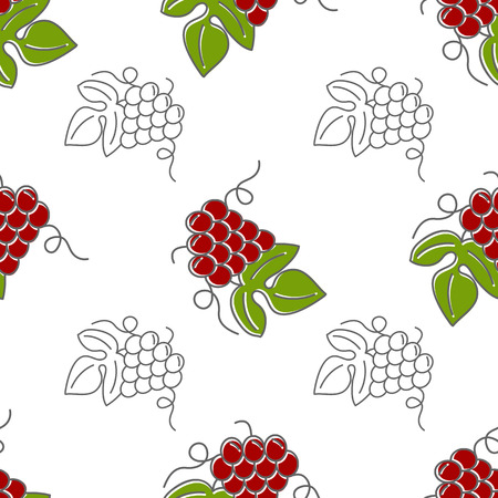 grapes in isolated: Seamless pattern with grapes isolated on a white background. Flat and mono line style design. Green and red illustration.