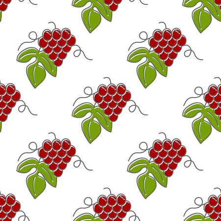 grapes in isolated: Seamless pattern with grapes isolated on a white background. Illustration