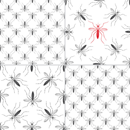 mosquitos: Set of four seamless patterns with aedes mosquitos. Texture of insects.  Healthcare concept. Pattern warning about dangerous Zika virus. Black and red design elements on white background.