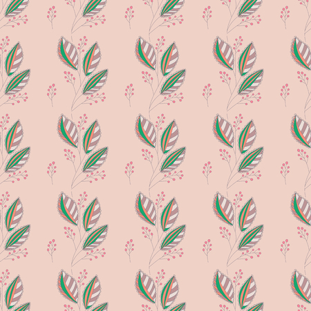 seamless pattern with leaves and berries. Hand drawn botanical background.