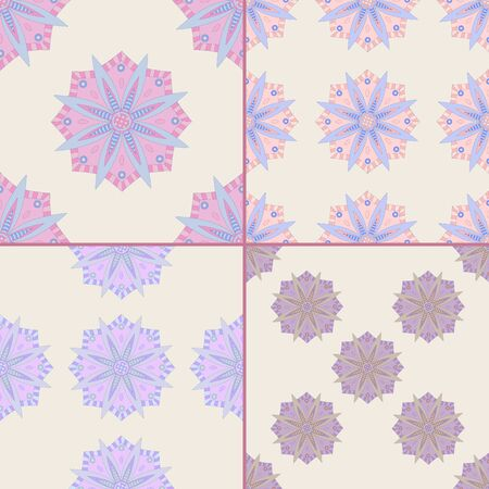 Set of four seamless patterns with ottoman motifs. Hand drawn mandala background.